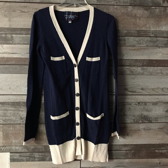 BB Dakota Sweaters - Jack BB Dakota long cardigan blue cream Med